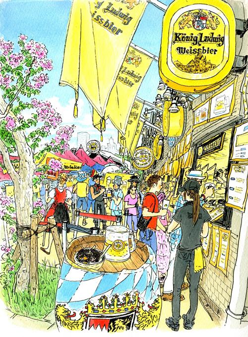 ドイツ語の乾杯の歌が響くビール祭り、オクトオーバーフェスト。 黄色い旗が印象的なケーニッヒ ルードヴィッヒ ヴァイスビア・ヘル。 かんかん照りの青空の下、みないい顔をしている