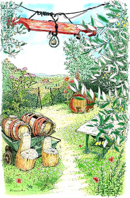 町の城壁を出て畑の道を歩く。葡萄農家の道具小屋に人の気配。「ボンジョルノ!ポッソ~~スケッツォ?」カタカナ発音で声をかけると、おばちゃんが「シー!シー!プレーゴ!プレーゴ!」身振り手振りでO.K.サイン。裏庭に小さなブランコが作ってあった。