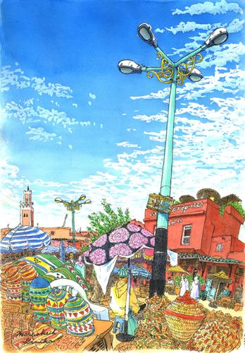 モロッコ滞在最後の朝。勇んで出かけたクディマ広場はがらんとしてまだ人も店も出ていない。 途方にくれて空を見上げると、真っ青な空に突き出た街灯。おはよう。今日私がここに居たことを描いて帰るね。街灯に気持ちを預けて描き始めました。