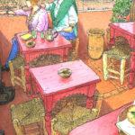 クディマ広場のカフェの屋上に上がると誰もいない。強烈な赤とピンクの配色に一目惚れ。カンカン照りの屋上で真っ青な空を独り占め。麦わら帽子を被ってスケッチしているとカップルが上がってきた。肩に載せた手がちょっとうらやましい。
