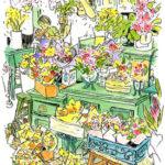 色とりどりのミニブーケが並ぶ花屋さん。キャビネットが気に入ってスケッチ。