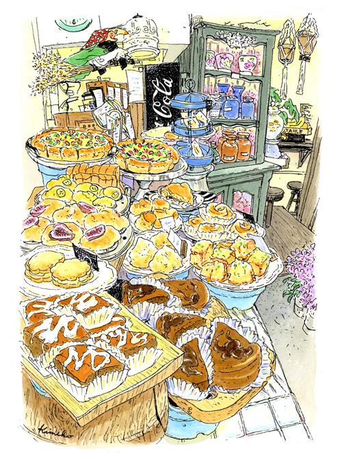 元町の花屋&カフェ。キッチンウィッチが見守る店内に、美味しそうなマフィンやスコーンが並んでいます。お皿の下は青い植木鉢