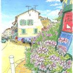 強烈な風ミストラルが止んだら、今度はいきなり真夏の日差し。暑い暑い。6月の午後は外を歩く人もまばら。白い石の街を歩き回って喉がからから。小さなピンクの花に心が和む。