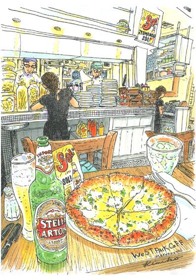 ステラ(星)とソル(太陽)と名前のついたビール。こんがり焼き色がついたピザ。いい匂いに気持ちが逸る。早く描いて熱いうちに食べたい。WEST PARK CAFE Marunouch