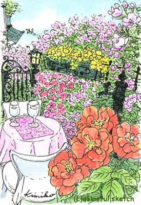表参道であちこちスケッチをして回り、お昼時。つるバラの咲き乱れるお店を発見。花は出会い。その日描かないと、次に来たときにはもうありません。ロマンチックなテーブルで。表参道 bamboo 東京・表参道