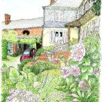 ジェルブロワの小さなシャンブルドット(民宿)。庭を描いていると、灰色の猫がゆっくり歩いてきて絵を踏んで行く。臙脂色のシトロエン、子供部屋の窓飾り、ご主人の折りたたみ椅子、子供たちの笑い声。数日の滞在がこんなにも懐かい。Les Jardins du Vidame、Gerberoy