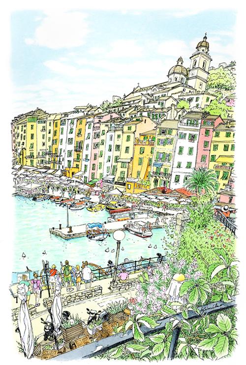 ポルトヴェーネレで初めての朝。高台から穏やかな港町が見え、手摺りに駆け寄りました。明るい色彩の建物が隙間なく並び、砦だったとは思えない美しさ。地中海の強烈な海風に煽られながら、少しずつ描き進めました。
