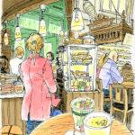ストックホルムで初めての単独行動。勇んで市場に出かけたものの、隅っこのカフェで紙を広げるのが精一杯。