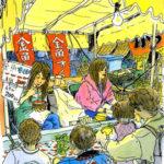 川越の夜店の金魚すくい。客も少なくなってきて、店番のお姉さんもひと休み。
