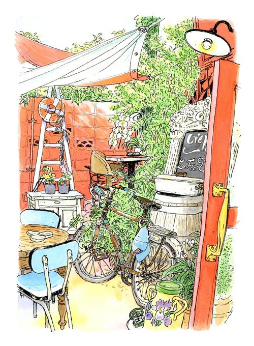 キャットストリートの脇道のガレットの店。真っ赤なドアとグリーンが印象的です。初夏の風に吹かれ、シードルを飲みながらのスケッチ。