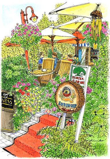 秋晴れの日比谷公園。カフェの入り口の赤い絨毯に続くテラスにはパラソルがいっぱい。みんなアルコールが入って、ちょっと赤い顔で話が弾んでいるようでした。描いている私もいい気分。そんな感じが出せたでしょうか?