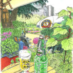 そういえば、秋にちょうどこの席の向かい側から描きました。今日は自分の絵の中に入った気分で、ビールを頼みました。スケッチ中は飲まないので、スケッチするだけ。日比谷公園