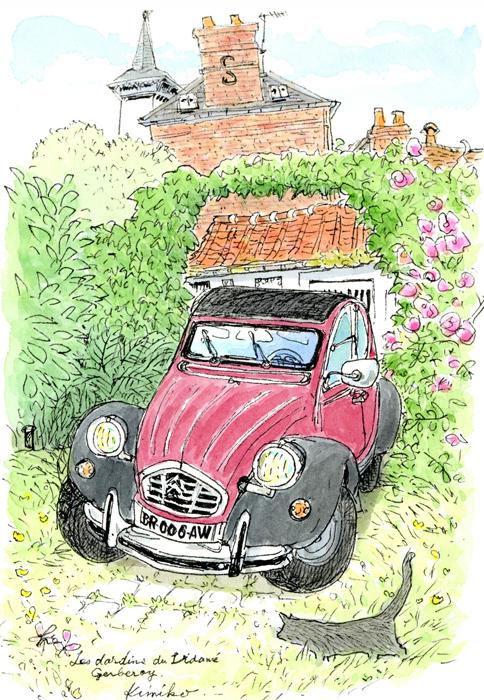 中庭に停められた臙脂と黒のツートンのシトロエン。客が帰って静かになった庭を灰色の猫がのしのしと歩いて行く。教会から鐘の音が聞こえてくる。 Les Jardins du Vidame、Gerberoy