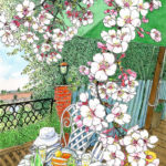 春の風に誘われイングリッシュガーデンへ。アンディ&ウィリアムズ・ボタニック・ガーデン。 満開のチューリップの片隅に若い桜が一本。ひょろひょろして頼りない枝振りが面白い。あたりはすっかり葉桜の頃。
