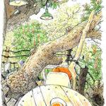 ツリーハウスのなんじゃもんじゃカフェで休憩。空中の階段を上り木の上のテラスへ。 小鳥の声がすぐ近くに聞こえます。