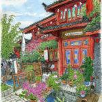 千年の都市麗江。朝ごはんを食べたレストラン。店の主人が私の名前の漢字を読んで「シャオ・メイ・ズ」と発音すると教えてくれた。少し冷たい朝の空気。標高2400mで深呼吸
