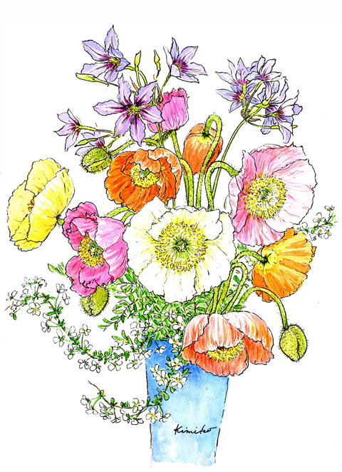 ポピーが好き。ひと束買うと次々に開いて楽しませてくれる。毛深い固いつぼみもしわくちゃの花びらも素敵。大好きな雪柳を添えて春を楽しむ。