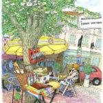 """アルルの小さな広場の一本の木。葉の裏が真っ白で小さな実が付いています。木の名前を""""ティエル""""と教わりました。幹に付けられたカトラリーボックスから描き始め、なかなか暮れない長い午後を楽しみました。ティエルは「リンデン」「菩提樹」と分かりました。"""