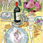 テーブルウェア展。白樺の木立の中で幸せな二人を待つテーブル。とても繊細な色あわせ。お客さんを避けながら描いたので、正面に居られず、ナプキンの向きが違っています。
