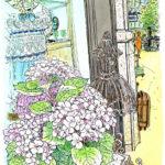 丸の内三菱一号館のリサイクルショップ。通り抜けようとして、錆びたボディに気が付いた。立ち止まると紫陽花やウィンドウの中の服がここで描いたら?と誘ってくる。Marunouchi BRICK SQUARE