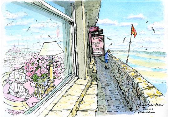 モン・サン・ミッシェルの最後の日、島を一周する。晴れた空、少し強い風。入りたかったレストラン。カモメの鳴き声で振り返ると、空と海が溶け合って店のガラス窓いっぱいに広がった。 Mont Saint-Michel