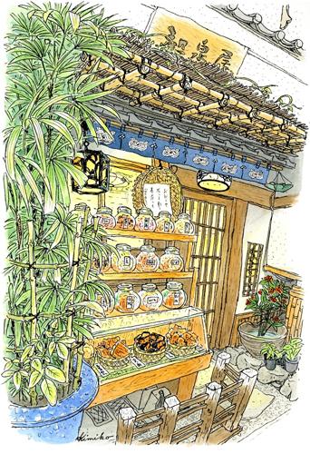 二月冷たい雨の中、観音通りへ。浅草らしい和の設えの和泉屋。煎餅のガラス瓶が棚いっぱいに並んでいます。灯の温かさに惹かれてスケッチしました。