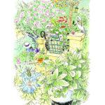 斜面の庭は花盛り。風の向きによってふんわりと花の香りに包まれる。