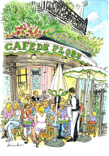 パリは手強い。カフェの席は皆通りに向いているので、描こうとすると客と目が合ってしまう。「最前列の客は見られるのを楽しんでいる。」という言葉に励まされスケッチ。常連らしいおじさんが拍手してくれました。6月の空は8時を過ぎてもまだまだ明るい。Café de Flore