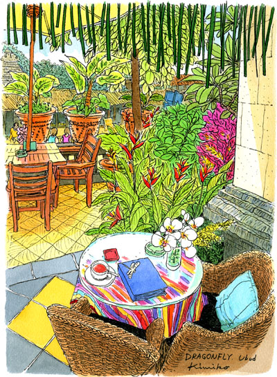 3年前まだペンスケッチを知らなかった頃、バリで絵を描きたいと思った。ペンスケッチに出会って、今ここに居る不思議。色々な方に出会い助けられて、私の夢が叶った日。スコールの後のドラゴン・フライ(トンボ)