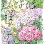 モンパルナスのジョルジュ・フランソワさんの花屋にて。照明を落としひんやりとした空気、花の奥に灯る小さな明かり。クラシック音楽が静かに流れる中、5時間のスケッチ。人がすれ違うのがやっとの狭い店内で描くことを受け入れてくださったジョルジュ・フランソワさんに感謝。 Georges François Paris