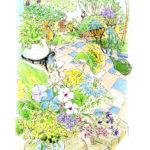今摘んだばかりの花を、小さなテーブルにそっと置いて、また花の手入れに行く人。小さな花がなんと美しく咲いていることか。