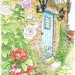 村に移り住んだ画家シダネルが構えたアトリエ。苔むした煉瓦塀の小さなドアの脇にもバラが揺れている。花びらに残ったしずくがコロコロと流れ落ちた。 Atelier du jardin Gerberoy,France