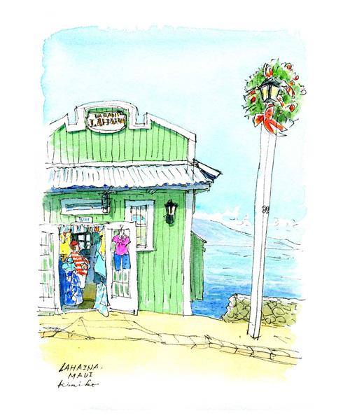 マウイ島で最後のスケッチ。もう集合時間というわずかな時間に小さな紙に走り描き。ありがとうラハイナ。