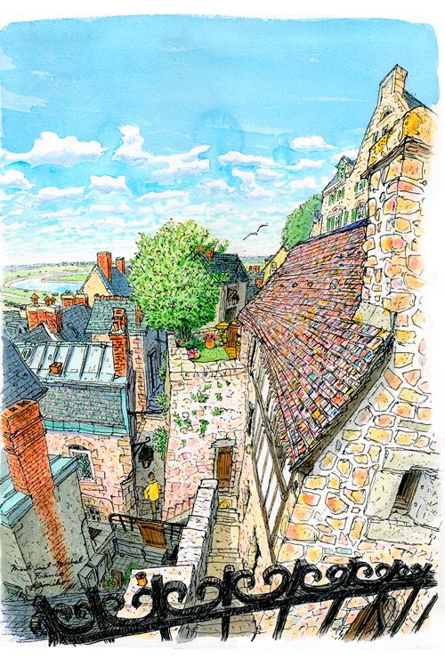 モン・サン・ミッシェルは細い坂道と階段で繋がる迷路のような島内。見上げれば広い空、ミカエルの像。見下ろせば階段の奥の深い暗がりに小さな窓。苔がこびりついた石はどこか温かく、どこに立っても、ここにいていいんだよと言われている気がする。Mont Saint-Michel