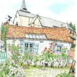 村を散策すると何の前触れも看板もなく、シダネルのアトリエに出合う。小さな窓が二つ、天窓のある石葺きの屋根は少し歪んで苔が生えている。このアトリエで絵を描き、荒れ果てた村に薔薇を植え育てた画家のことを思う。 Henri Le Sidaner Atelier du jardin Gerberoy,France