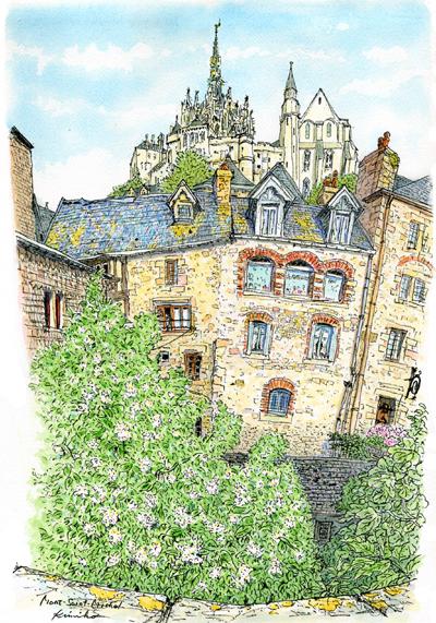 モン・サン・ミッシェルの島内に泊まった翌朝。朝日を受けて聖堂の尖塔が輝いている。犬を連れて散歩する人と挨拶を交わす。耳元に蜂の羽音。雨に洗われた白い花が強く香った。Mont Saint-Michel