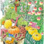 秋の陽射し。南青山の小さな花屋さん「カントリーハーベスト」。小さなリンゴの実が生っている。黄色やオレンジ色のかぼちゃにハロウィンが近いことを知る。COUNTRY HARVEST