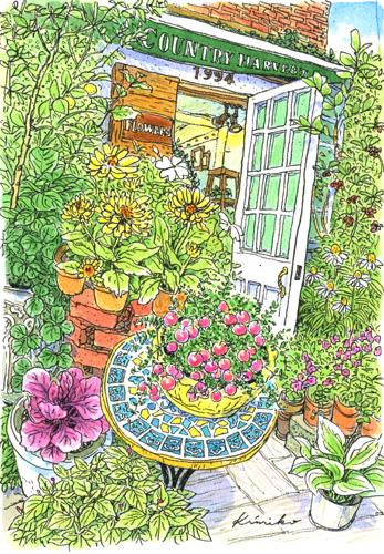 いい天気。何かいいことがありそう。南青山の小さな花屋さんで可愛い赤い実を発見。通りかかった人が、私が描き終えるのを待って、アセロラを買って行きました。COUNTRY HARVEST