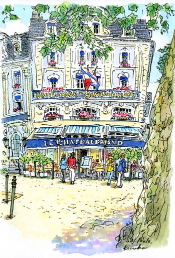 フランスの北西部、高い堤防と城壁に囲まれた海辺の町、サンマロ。旧市街は街中いたるところに魚介料理の看板が出ている。今夜はこの店で晩御飯。約束の時間まで外からスケッチ。フランス