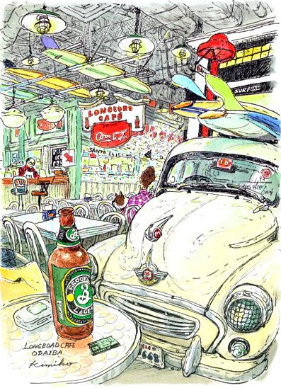 カフェの店内の古い車を一目見て、鼻先のふくらみと、 ちょっと癖のある曲線に参りました。 モーリス・トラベラー好きになりました。フレンチブルドッグを連れた常連客と店長さんのおしゃべりを聞きながらスケッチ。アクアシティお台場LONGBOARD CAFE