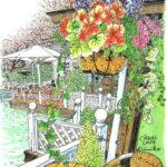 カナルカフェのお堀の見える席で。赤い花のハンギングに惹かれて、立ってスケッチ。熱い紅茶とブランケットがうれしい。秋の日は短い。早く切り上げないと。CANAL CAFE
