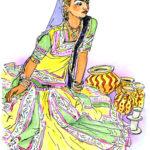 インドの音楽が始まり、鮮やかな衣装をまとった華奢な体がしなやかに動きステップを踏む。 スケッチのためにポーズをしてもらうと18歳の顔になった。
