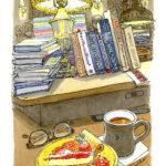 大きなテーブルに積み上げられた本や雑貨が丁度良い目隠しになって、ほっと寛げる空間。大ぶりのマグカップでコーヒーを飲みながら。六本木ヒルズe.a.gran