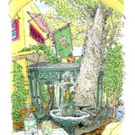 代官山の老舗カフェの中庭。大きなケヤキが枝を伸ばしている。木の枝がゆっくり揺れるのを見ていると時間を忘れる。ふうっと大きく息を吸うと若葉の匂いがした。