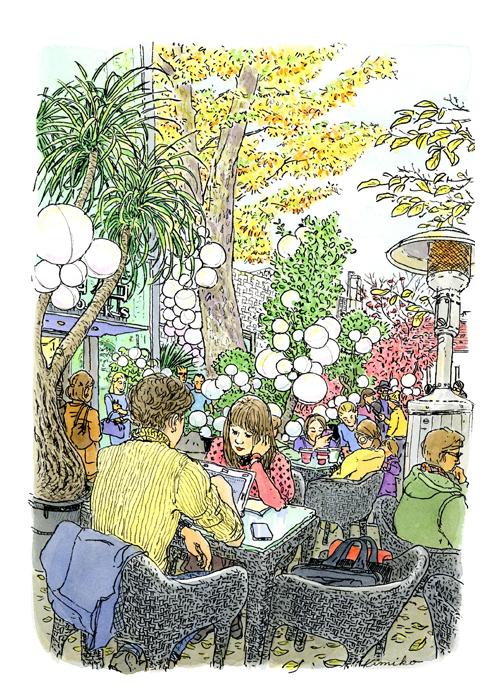 欅が色づくころ、週末の人出で賑わう代官山蔦屋。天気が良い上、トーブもぽかぽか暖かく上着を脱いでいられます。白い球体は2016クリスマスまでのディスプレイ。