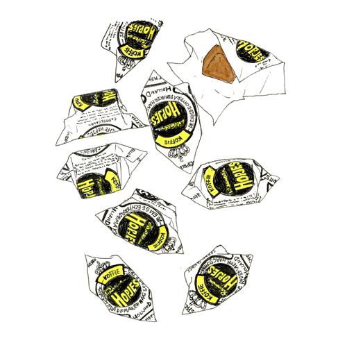 何とかわいい包み紙。つんと角が出たような形に黒と黄色のロゴ。思わず描きたくなりました。Rademaker
