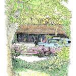 代官山蔦屋でスケッチポイントを探していると、さーっと木の葉を鳴らして緑の風が吹き抜けた。サツキの向こうはカフェミケランジェロの洋瓦。今日は朝からラッキー。