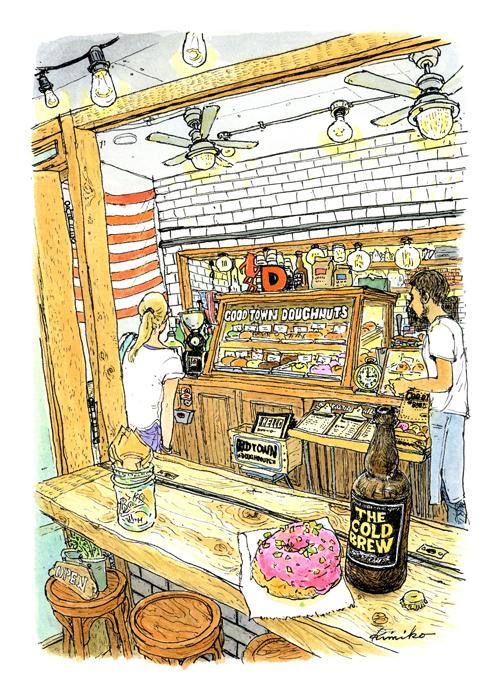 原宿キャットストリートの近くで美味しそうなドーナツ屋さんを発見。思いっきりピンクのラズベリー・ピスタチオとすっきりした苦みのコールドブリュー・ブラック。ビール瓶かと思いましたよ。