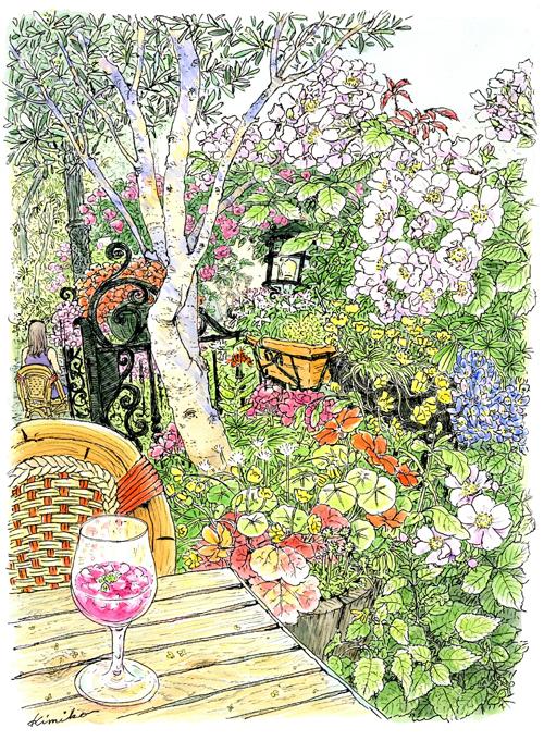 緑に囲まれた白いテラスが印象的な一軒家レストラン。5月の休日、蔓バラに誘われてガーデンテラスでスケッチ。