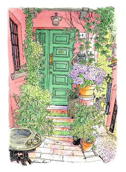 コモ湖の中ほどに突き出したべラジオの町。観光客でにぎわうセルベローニ通りを逸れ脇道に入ると、紫陽花の咲く家。水遣りの跡に暮らしの気配を感じて。Bellagio